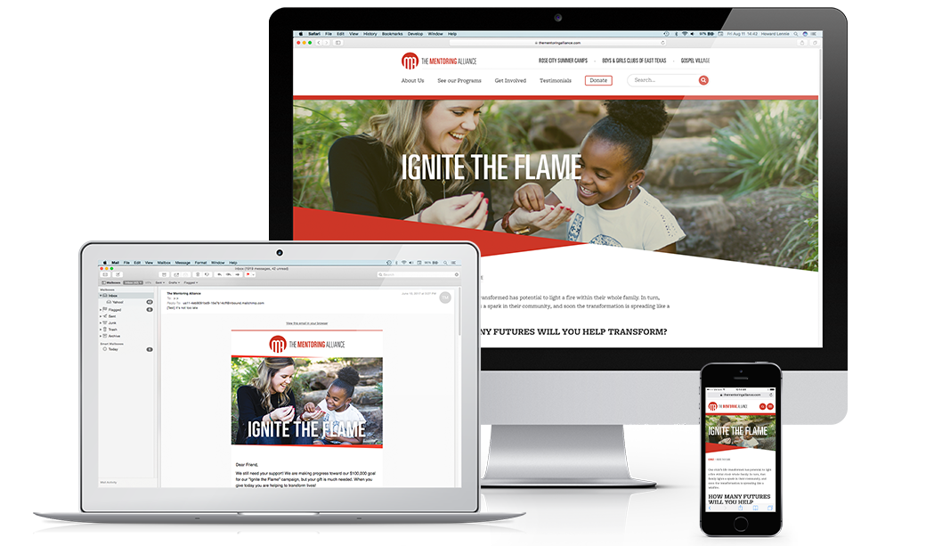 Fundraising materials graphic design on desktop, laptop and mobile devices
